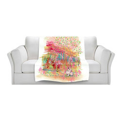 DiaNoche Designs - Fleece Throw Blanket by Aja-Ann - Cotton Tail - Original Artwork printed to an ultra soft fleece Blanket for a unique look and feel of your living room couch or bedroom space.  DiaNoche Designs uses images from artists all over the world to create Illuminated art, Canvas Art, Sheets, Pillows, Duvets, Blankets and many other items that you can print to.  Every purchase supports an artist!