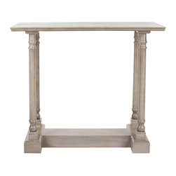 Safavieh - Regan Console Table - Vintage Grey - Add architectural interest to any space with the Reagan console table��_s slim profile, structured base and gracefully turned baluster columns. Crafted of pine wood in a vintage grey finish, this elegant accent piece is the perfect foundation for elegant displays of personal treasures.
