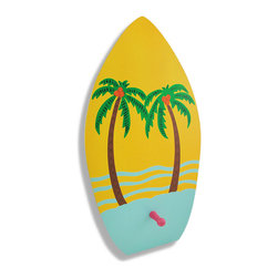 Zeckos - Wooden Surfboard with Palm Trees Decorative Wall Hook - Hang your towel after a long day at the beach or after a long shower dreaming of the beach on this surfboard wall hook Whether placed on a wall or a door, this ultra-cool surfboard design single peg wall hook would look great with beach or nautical decor, and adds a fun touch to bathrooms, dorm rooms or bedrooms This wooden 16 inch high, 8 1/2 inch wide, 3/8 inch deep wall hook is an excellent spot to hang keys, coats, robes or even the dog's leash and easily hangs on the wall using a single nail or screw. This surfboard is decorated with tall palm trees to give it and your home some island vibe.
