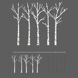 Dana Decals - Birch Trees Silhouettes Forrest Wall Decal - Branches come as separate pieces so you can rearrange and create the perfect scene for your wall!