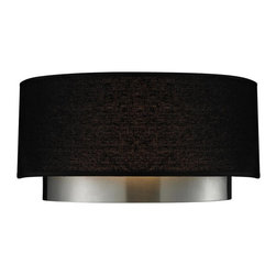 Two Light Chrome Black Shade Wall Light - A black linen cylindrical drum shade defines this wall sconce, as does its complimentary chrome hardware. This fixture is sure to add contemporary class to any space.