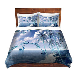 DiaNoche Designs - Duvet Cover Microfiber by Mark Watts - Aquatic Reflections - Super lightweight and extremely soft Premium Microfiber Duvet Cover in sizes Twin, Queen, King.  This duvet is designed to wash upon arrival for maximum softness.   Each duvet starts by looming the fabric and cutting to the size ordered.  The Image is printed and your Duvet Cover is meticulously sewn together with ties in each corner and a hidden zip closure.  All in the USA!!  Poly top with a Cotton Poly underside.  Dye Sublimation printing permanently adheres the ink to the material for long life and durability. Printed top, cream colored bottom, Machine Washable, Product may vary slightly from image.