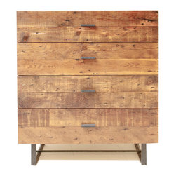 Blake Avenue - Krisel Dresser - Made of reclaimed Douglas Fir, this four drawer piece floats lightly off the ground on a hand welded recycled steel frame. Finished with a natural wax and shellac.