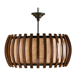 Kathy Kuo Home - Dadelus Wood and Burlap Slat Mid Century Style Pendant Lamp - A distinctly mid century modern attitude informs the line and construction of this wood and burlap lighting beauty.  However, the same brevity and elegance makes it a classically Asian pendant too.  A coarse textural burlap makes adds additional interest to the warm light which is cast.