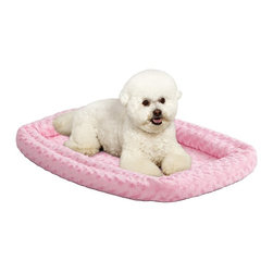 Mid-West Homes for Pets - MidWest Quiet Time Pink Fashion Double Bolster Bed - 40318-PS - Shop for Beds Covers and Fill from Hayneedle.com! Your pet s natural instinct is to find a secure den to make a place of her own. Make that place as comfortable as possible with the Midwest Quiet Time Pink Fashion Double Bolster Bed. Available in multiple sizes to accommodate extra small small and medium-sized pets this rectangular cushioned faux-fur bed is pretty in pink and filled with cozy polyfiber. Double stacking bolsters provide deeper cushioning. Secure the bed to your pet s crate with the elastic straps on each corner to prevent bunching and sliding. You can also use the bed on its own for a relaxed area for your fur-baby in any room of your home. The bed is fully machine washable for easy care when needed. A one-year limited warranty is included. Dimensions: 18-in. size is 17.25L x 11.25W x 3.5H in. 22-in. size is 21.75L x 12.25W x 3.75H in. 24-in. size is 24L x 14.75W x 3.75H in. 30-in. size is 29.75L x 21W x 4.75H in. 36-in. size is 35.75L x 21W x 4H in. About Mid-West Metal Products/MidWest Homes for PetsIn 1921 Mid-West Metal Products made only one item a Kruse Switch Box Support and over the years began manufacturing millions of wire and sheet metal component parts. By 1960 they were producing training crates for pets. Today MidWest Homes for Pets a division of Mid-West Metal Products produces and markets a variety of pet containment products. These products include dog crates training puppy crates dog kennels cat playpens bird cages vehicle barriers soft-sided carriers grooming tables and much more. They also manufacture a full line of pet accessories like beds and feeding dishes.