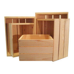 MGS Inc. - Nesting Wooden Crate 5pc Set - The ideas are endless with the Nesting Wooden Crate 5-piece Set.  Unfinished solid pine that is ready for your personal touch.  Add a warm rustic feeling to any room or decor no matter what it may hold.  Sizes inlcuded in this purchase include one of each: 22-inch, 20-inch, 18-inch, 16-inch, and 14-inch that nest together for easy storage.  Solid Wood Construction