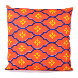"""Concepts Life - Concepts Life Decorative Pillow  Moorish Tile Orange - Spice up your living space with these vibrant accent pillows. Make any space """"pop"""" with these elegant, colorful designs, equal parts texture and geometry. Throw an assortment on the couch or place them individually on your dining room chairs for an eye-catching, tasteful accent.  Hand-knit 100% cotten convas cover Comes with poly filler Spot clean Dimensions: 20""""h x 20""""w Weight: 1.5 lbs Pillow arrives in a vacuum sealed bag Once the pillow is aired and fluffed it will regain its full, soft and plump shape"""