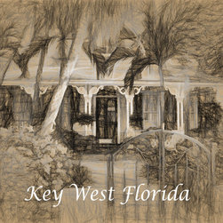'Key West Home' A Digital Drawing by Dennis Granzow, 30x20 - Image comes unframed. See framed sample below photo.