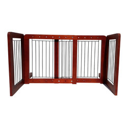 Welland - Wood Freestanding Adjustable Pet Gate - Uh-oh — is Fido cramping your style? Make your decor dog days disappear with this attractive pinewood pet gate. It expands to fit any opening to keep your precious furry friends where they belong. And if the sad puppy dog eyes become too much to bear, easily step over the freestanding gate to give Fido a little love.
