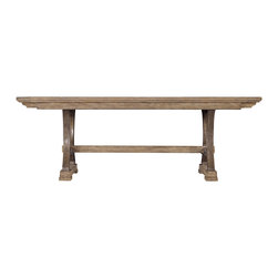 Stanley Furniture - Coastal Living Resort Shelter Bay Dining Table in Distressed Weathered Pier - Live like every day is a vacation with items from Coastal Living s Resort collection. The Shelter Bay Dining Table will create a welcome gathering spot for friends and family. Its sophisticated style is made more relaxed with a trestle base and two breadboard end leaves that increase the seating to ten. Wood construction with Distressed Weathered Pier finish creates a perfectly aged look; like a pier on the Oregon coast with colorful fishing boats bobbing gently in the harbor. Plank tabletop with visible wood grain. Legs curve inward for added shape. You and your guests will enjoy many delicious meals around this stunning table