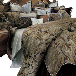 AICO Furniture - Portofino Queen 12-piece Comforter Set - Ribbon-Edged with a Turquoise/Brown Color Scheme. 1 Comforter, 2 Euro Shams, 2 Standard Pillow Shams, 1 Bedskirt (3 Pieces), 6 Decorative Accent Pillows