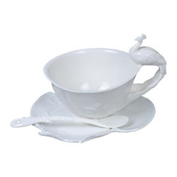 US - 6 Inch All White Glazed Porcelain 3 Piece Tea Set with Peacock Handle - This gorgeous 6 Inch All White Glazed Porcelain 3 Piece Tea Set with Peacock Handle has the finest details and highest quality you will find anywhere! 6 Inch All White Glazed Porcelain 3 Piece Tea Set with Peacock Handle is truly remarkable.