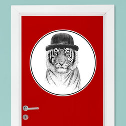 My Wonderful Walls - Tiger Wall Decal - Welcome to the Jungle by Balázs Solti, Small - - Product:  tiger in hat decal