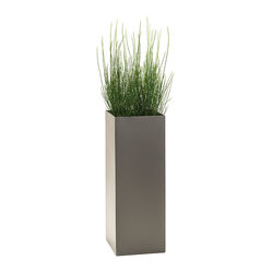 Modern Tower Planter, Pewter, Standard