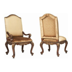 Hooker Furniture Beladora Upholstered Dining Arm Chairs - Set of 2 - Don't try to take the Hooker Furniture Beladora Upholstered Dining Arm Chairs - Set of 2 to the Antique Road Show. They may look like Old -World antiques, but we promise they're not. While this much opulence isn't for everyone, these gorgeous chairs are perfect for those who favor antique glamor and a flair of drama. Detailed with a caramel finish, gold highlights, and luxurious gold fabric, they're even more divine in person than they are online.But it isn't just appearances that are important with Hooker Furniture- it's also about quality construction that can stand the test of time. Hardwood solids with maple and walnut veneer compose the frame, ensuring that this chair is as physically timeless as its style. Full upholstering on the back and seat also mean that you don't have to sacrifice comfort for style.Not available for sale in, or delivery to, the state of California.About Hooker Furniture CorporationFor 83 years, Hooker Furniture Corporation has produced high-quality, innovative home furnishings that seamlessly combine function and elegance. Today, Hooker is one of the nation's premier manufacturers and importers of furniture and seeks to enrich the lives of customers with beautiful, trouble-free home furnishings. The Martinsville, Virginia, based company specializes in lifestyle driven furnishings like entertainment centers, home office furniture, accent tables, and chairs.Construction of Hooker FurnitureHooker Furniture chooses solid woods and select wood veneers over wood frames to construct their high-quality pieces. By using wood veneer, pieces can be given a decorative look that can't be achieved with the use of solid wood alone. The veneers add beautiful accents of color and design to the pieces, and are placed over engineered wood product for strength. All Hooker wood veneers are made from renewable resources and are located primarily on the flat surfaces of the furniture, such as the case tops and sides.Each Hooker furniture piece is finished using up to 30 different steps, including 13 steps of hand-sanding and accenting. Physical distressing is done by hand. Pieces receive two to three coats of solid lacquer to create extra depth and add durability to the finish. Each case frame is assembled using strong mortise-and-tenon joints, which are then reinforced by mechanical fasteners and glue. On most designs, end panels extend to the floor to add strength and stability. Panel-style furniture features strong panel and frame construction to help avoid warping.Your Hooker furniture features finished case interiors to eliminate unsightly raw wood and to help protect items you may store inside drawers or cabinets. Drawer parts are given a urethane or lacquer finish to create smooth action and durability. All drawers use dovetails, either English or French, for years of problem-free use. Drawer bottoms are constructed from plywood and attached to the plywood drawer sides via the use of hot glue and/or wood glue blocks. Most drawers are full width, depth, and height to provide the maximum amount of storage space.