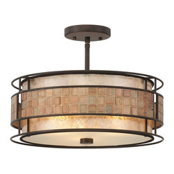Quoizel - Quoizel MC842SRC Mica Contemporary Semi Flush Mount Ceiling Light - This mica piece is an addition to the Quoizel Naturals collection and features a mosaic tile stripe, which appears to be floating around a taupe mica shade. The tiles have a coppery shimmer for an added touch of elegance.    It provides a warm and inviting accent for most any home.