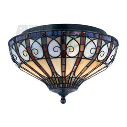 Quoizel - Quoizel QZ-TFAV1714VB Ava Traditional Tiffany Flush Mount Ceiling Light - Carefully selected jewel tones harmonize exquisitely in this stunning piece. Genuine art glass in shades of crimson, saffron, sapphire and emerald are complemented by round amber jewels, setting your room aglow with rich color. Metal accents are curled into an abstract heart shape adorning this handcrafted work of art.
