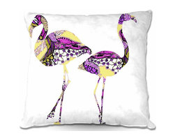 DiaNoche Designs - Pillow Woven Poplin - Pink Flamingos - Toss this decorative pillow on any bed, sofa or chair, and add personality to your chic and stylish decor. Lay your head against your new art and relax! Made of woven Poly-Poplin.  Includes a cushy supportive pillow insert, zipped inside. Dye Sublimation printing adheres the ink to the material for long life and durability. Double Sided Print, Machine Washable, Product may vary slightly from image.