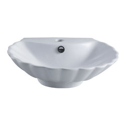 Kingston Brass - White China Vessel Bathroom Sink with Overflow Hole & Faucet Hole - The Oceana vessel sink features an intricately designed seashell body with a small pulpit at the base used for countertop installation. The inner basin is shaped in a skewed circular model with refined indentations that signify the look of a shell. A single-hole drilling is mounted on the sleek faucet deck with a chrome-plated overflow hole on the front end. The surface is refined with the finest vitreous china to prevent from scratches; suitable for those seeking a classic-style theme for their bathroom.