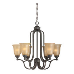 Jeremiah Lighting - Edgefield 6 Light 1 Tier Chandelier - Bulb Base: Medium (E26). Bulb Wattage: 60W. Bulb Count: 6. Bulbs Not Included