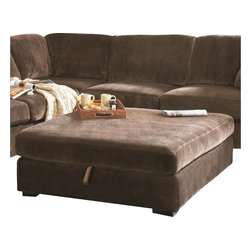 Coaster - Coaster Luka Storage Cocktail Ottoman in Coffee Velvet - Coaster - Ottomans - 500704 - Complete the look and function of your living room with this oversized storage ottoman. Useful as a seat, footrest, table, and storage piece, this ottoman has everything you need for the ideal lounge experience. From its plush boxed-edge cushion, to its spacious inside storage, this casual-style ottoman is both comfortable and convenient.