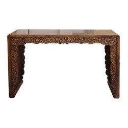 "Golden Lotus - Double Sides Dragon Carving Chinese Longevity Altar Console Table - Look at this Chinese altar table which is made of solid elm wood.  The front and back of table have very detail dragon and cloud carving on it.  Especially, the both sides of table have Chinese ""Longevity"" sign on it.  It should be perfect to put at your entrance hallway or living room."