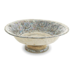 Arte Italica - Lustro Footed Bowl - The pattern, colors and glaze of this lustrous bowl add a timeless quality to your decor. Handmade in Italy, it's the kind of accent piece that enhances your favorite setting with subtle stately impact.