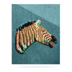 """Kess InHouse - Ancello """"Laughing Zebra"""" Teal Metal Luxe Panel (16"""" x 20"""") - Our luxe KESS InHouse art panels are the perfect addition to your super fab living room, dining room, bedroom or bathroom. Heck, we have customers that have them in their sunrooms. These items are the art equivalent to flat screens. They offer a bright splash of color in a sleek and elegant way. They are available in square and rectangle sizes. Comes with a shadow mount for an even sleeker finish. By infusing the dyes of the artwork directly onto specially coated metal panels, the artwork is extremely durable and will showcase the exceptional detail. Use them together to make large art installations or showcase them individually. Our KESS InHouse Art Panels will jump off your walls. We can't wait to see what our interior design savvy clients will come up with next."""