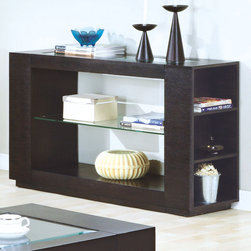 Monarch - Sofa Table in Cappuccino Veneer with Glass Insert & Shelf - Sofa Table in Cappuccino Veneer with Glass Insert & Shelf