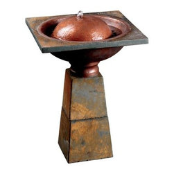 Kenroy Home Cauldron Bird Bath Fountain - What a unique and exceptional-looking birdbath bubbler the Kenroy Home Cauldron Bird Bath Fountain is. Featuring a slate finish, our birdbath fountain has a cauldron that is an amalgam of shapes and textures that combine to form a magnificently modern water fountain. Imagine this rich, stoic birdbath on your deck or patio area as you sit back and take in what the magical world of nature has to offer. Our birdbath bubbler comes with a quiet submersible pump that keeps the tranquil flow of water going strong.About Kenroy HomeEmployee-owned Kenroy Home creates a large range of lighting and home decor products. Having recently purchased Hunter Lighting Group, Kenroy Home is now positioned to expand their product lines and take their customer focus to the next level. With an experienced team and advanced equipment, Kenroy Home provides an unparalleled spectrum of products and services. Trained designers and technicians create functional works of art that exceed appearance and performance expectations. Their craftsmanship matches materials and finishes to each application for showroom quality at superior values. Product collections are designed to facilitate mix-and-match coordination.