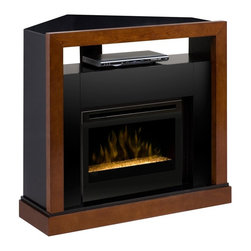 ClassicFlame - Dimplex Tanner Electric Fireplace Media Center w/ Glass Embers - GDS25G-5309WN - The Dimplex Tanner Mantel Package GDS25G-5309WN is your all-in-one electric fireplace media center. The mantel has a walnut and black finish and converts from a wall unit to a corner within minutes. The 25-inch electric firebox provides supplemental heat for up to 400 square feet and has a glass ember bed.