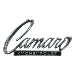 PhotoSteel - 1968-1969 Chevrolet Camaro Header Deck Emblem 12 x 6 Metal Sign - Check out this AWESOME metal sign. It has high-resolution graphics with exceptional detail and vibrant colors, for 3D-like quality on thick 14-gauge flat steel. Durable and rust-proof to withstand even the harshest environments indoors or outdoors. It's perfect for your Man Cave, Garage, Game Room, Office or anywhere you want to show love for your favorite car. Includes pre-drilled holes for easy mounting. Officially licensed General Motors GM product. Made in the USA.
