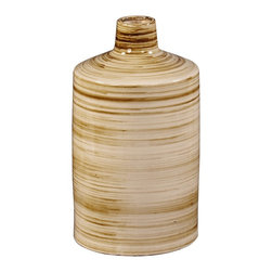 Howard Elliott - Beige Glazed Ceramic Vase w/ Striped Brown Accents-Short - Beige Glazed Ceramic Vase with Striped Brown Accents-Short.