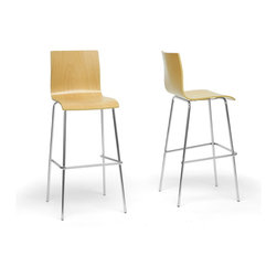 """Wholesale Interiors - Sydney Plywood Modern Bar Stools, Set of 2 - Let the Sydney Modern Bar Stool simplify your home. This minimalist bar chair is easy to incorporate into any decor with the clean elegance of the light plywood seat and chromed steel frame. The Sydney Bar Stool is made in China, includes non-marking feet, and requires assembly. To clean, wipe with a dry cloth. This style is not stackable. Product dimension: 17.5""""W x 18""""D x 42.5""""H, seat dimension:16.75""""W x 16""""D x 18.5""""H."""