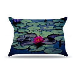 "Kess InHouse - Ann Barnes ""Twilight"" Water Lily Pillow Case, Standard (30"" x 20"") - This pillowcase, is just as bunny soft as the Kess InHouse duvet. It's made of microfiber velvety fleece. This machine washable fleece pillow case is the perfect accent to any duvet. Be your Bed's Curator."