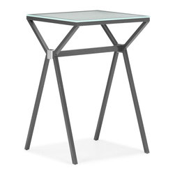 Zuo Modern - Xert Counter Table Gray - Relax and sip on a martini with our Xert bar series. Table has a painted glass top on a sturdy steel base. Perfect for entertaining in style.