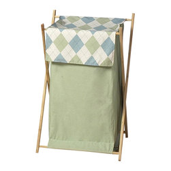 Sweet Jojo Designs - Argyle Blue and Green Hamper - The Argyle Blue and Green Hamper by Sweet Jojo Designs will add a designers touch to any child's room. This children's laundry clothes hamper has a wooden frame, mesh liner, and a fabric cover. The removable hamper body is secured to the wooden frame with corner loops and Velcro. The wooden stand folds flat for space-saving storage and the removable mesh liner is great for toting laundry.