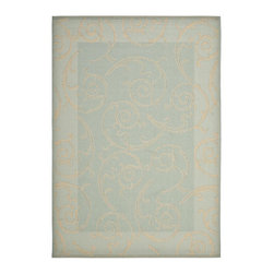 """Safavieh - Courtyard Blue/Brown Area Rug CY6108-25 - 2'4"""" x 6'7"""" - Safavieh takes classic beauty outside of the home with the launch of their Courtyard Collection. Made in Belgium with enhanced polypropylene for extra durability, these rugs are suitable for anywhere inside or outside of the house. To achieve more intricate and elaborate details in the designs, Safavieh used a specially-developed sisal weave."""