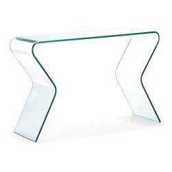 ZUO MODERN - Respite Console Table Clear Glass - Curvaceous and seductive, the Respite console table brings sexy into any room.