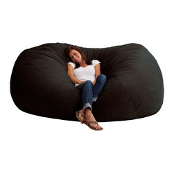 Comfort Research - Comfort Suede Black Onyx 7 Ft XXL Fuf Chair - All it takes is one sit to understand exactly why our one-of-a-kind Fuf Collection has brought bean bags out of your grandparent's dusty basement and into college campuses, bedrooms and living rooms around the world. With all sorts of sizes and colors available, all perfectly filled with our patented memory foam, the hardest part about sitting down on any Fuf is convincing yourself it's time to get up. Please note this item requires an additional shipping timeline of 10-14 days.