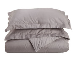 "300 Thread Count Twin Duvet Cover Set Egyptian Cotton Solid - Grey - Our 300 Thread Count Duvet Cover Set are an affordable bedding luxury. They are composed of premium, long-staple cotton and have a ""Sateen"" finish as they are woven to display a lustrous sheen that resembles satin. Luxury at an affordable price!"