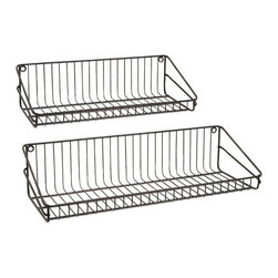 """IMAX - Ludovic Wall Shelf - Set Of 2 - Wire service: A pair of metal wall shelves in two sizes offer handy storage options. Dimensions:(5.5-6.25""""h x 21.75-27.5""""w x 8-9"""")"""