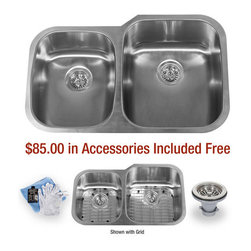 """Miseno - Miseno 32"""" Undermount Double Basin Stainless Steel Kitchen Sink 40/60 Split 18G - Included Free with Your Miseno Sink:"""
