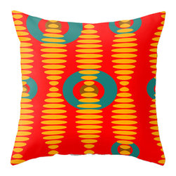 Crash Pad Design - Crash Pad Designs Throw Pillow- Abe - Keep your decor rocking with this sound wave-inspired mod pillow. This bright, geometric pattern is printed on both sides of this 100 percent polyester poplin fabric pillow, which features a hidden zipper closure and a polyester fill insert. This machine-washable pillow will add verve to any chair or sofa you place it on.