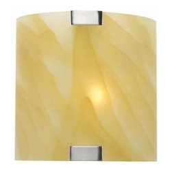 Illumine - Illumine Designer Collection 1-Light 8 in. Steel Wall Sconce with Amber Glass Sh - Shop for Lighting & Fans at The Home Depot. This 1-light wall sconce, part of the Designer Collection, offers a trendy solution that is sure to satisfy all your-lighting needs. This wall sconce combines unique styling and excellent quality to create the perfect blend that will exceed your expectations. Combining a steel finish with amber glass shade, this functional yet stylish fixture will add a renewing element in various decor settings.