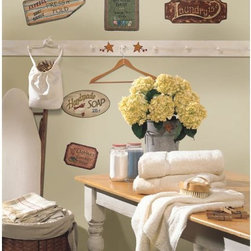 Roommates Decor - Country Signs Peel & Stick Wall Decals - Bring a touch of vintage and retro to your surroundings with our peel and stick country signs. These have been designed to mimic the vintage look of weathered, hand-painted wooden signs. Great for all around the house: bathrooms, kitchens, pantries, powder rooms, laundry rooms and bedrooms. We've included a sign for each of these rooms, and added berries and country tin stars for the finishing touch!