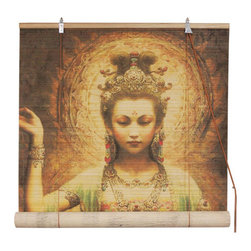 Oriental Furniture - Kwan Yin with Lotus Bamboo Blinds 48 Inch, Width - 48 Inches - - These stunning bamboo matchstick blinds feature an elegant kwan yin with lotus design.  Available in five convenient sizes.   Easy to hang and operate.  Available in three sizes, 36W, 48W and 72W.  All sizes measure 72 long. Oriental Furniture - WTKWAN-48W