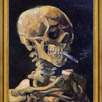 """Vincent Van Gogh-18""""x24"""" Framed Canvas - 18"""" x 24"""" Vincent Van Gogh A Skull with Burning Cigarette framed premium canvas print reproduced to meet museum quality standards. Our museum quality canvas prints are produced using high-precision print technology for a more accurate reproduction printed on high quality canvas with fade-resistant, archival inks. Our progressive business model allows us to offer works of art to you at the best wholesale pricing, significantly less than art gallery prices, affordable to all. This artwork is hand stretched onto wooden stretcher bars, then mounted into our 3"""" wide gold finish frame with black panel by one of our expert framers. Our framed canvas print comes with hardware, ready to hang on your wall.  We present a comprehensive collection of exceptional canvas art reproductions by Vincent Van Gogh."""