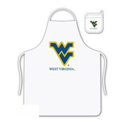 Sports Coverage - West Virginia U Tailgate Apron and Mitt Set - Set includes your favorite collegiate West Virginia University screen printed logo apron and insulated cooking mitt. White apron with white silver backed mitt. Both items are logoed. Tailgate Kit apron and mit is 100% cotton twill with screenprinted logo.