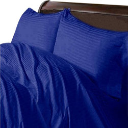 SCALA - 300TC 100% Egyptian Cotton Stripe Egyptian Blue Short Queen Size Fitted Sheet - Redefine your everyday elegance with these luxuriously super soft Fitted Sheet. This is 100% Egyptian Cotton Superior quality Fitted Sheet that are truly worthy of a classy and elegant look.